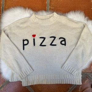 Wildfox Pizza Sweater Pullover Size Large Cream